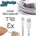 3x Premium Nylon USB Cable White iPhone SE 6s Plus 6 5s Data