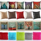 Vintage Geometric Flower Linen Cotton Pillow Case Cushion Co