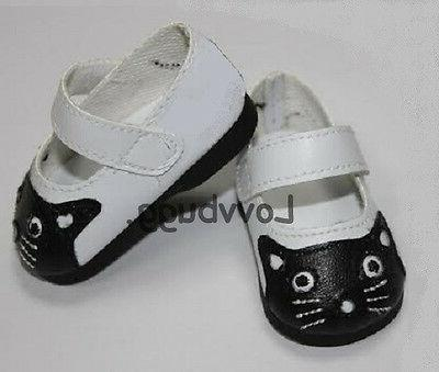 White & Black Kitty Cat Shoes for American Girl 15 - 18 inch