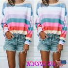 Women Long Sleeve Rainbow Stripe Shirt Casual Blouse Tops Lo