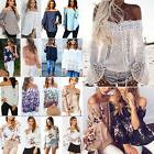 Women Off The Shoulder Floral Long Sleeve Tops T-Shirt Loose