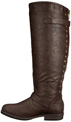 Journee Riding Boot, Brown Calf, M US