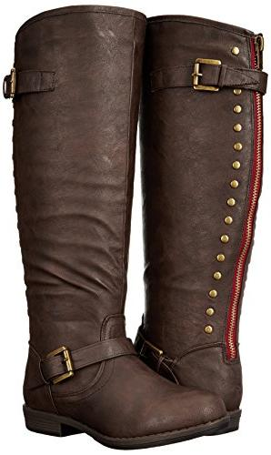 Journee Durango-wc Riding Boot, Brown Calf, 8.5 M US