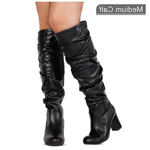 RF OF Women's Calf Heel Knee High Dress Black PU