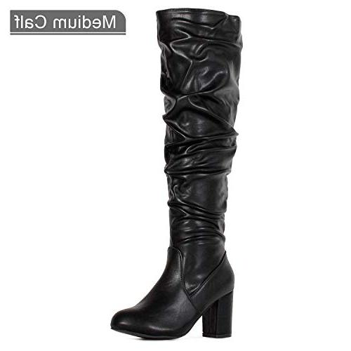 RF OF Women's Medium Calf Heel Slouchy Knee Dress Boots Black PU