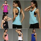 Women Vest Workout Tank Top T-shirt Sport Gym Clothes Fitnes