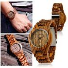 Fashion BEWELL Wood Watch Wooden Quartz Date Display Men's W