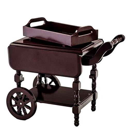 The Queen's Moveable Drop Leaf Tea Cart with Removable Serving Tray Scaled Girl Accessories and 18 Inch Doll Houses