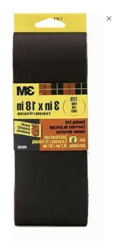 "5 Pack 3 X 18"" 120-grit Sanding Belt, 3M, 99260NA"