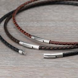 Leather Choker Necklace Braided Real Leather Cord Bayonet Cl