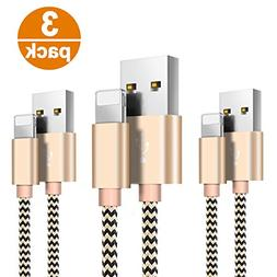 Lightning Cable, 3Pack 1.6ft/0.5M Nylon Braided Charging Cor