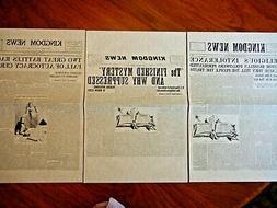 LOT PRICE - 1918 KINGDOM NEWS #1, 2 & 3 12X18 inch Watchtowe