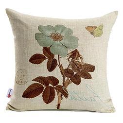 Monkeysell Lotus Leaf Butterfly Flowers Pattern Cotton Linen