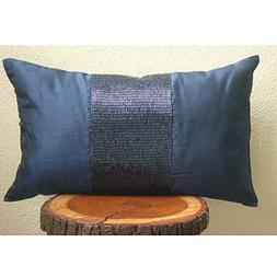Luxury Blue Lumbar Pillow Cover, Metallic Beaded Centered Sp