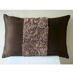 The HomeCentric Luxury Brown Lumbar Pillow Cover, Textured R