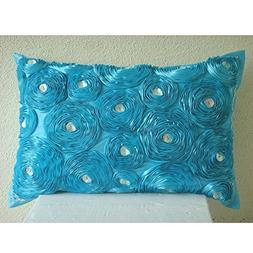 Luxury Turquoise Lumbar Pillow Cover, Ribbon Aqua Rose Flowe