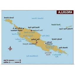 Map of Anguilla Poster Art Print,  Home Decor