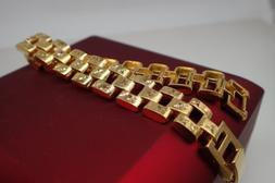 Men Jewellery 18ct Yellow gold Solid Wide 12mm Watch band Wo