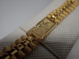 Men Jewellery 18K Yellow gold Solid Diamond cut Watch band W