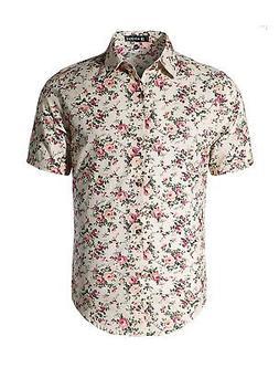 Men Short Sleeve Button Front Floral Print Cotton Beach Hawa