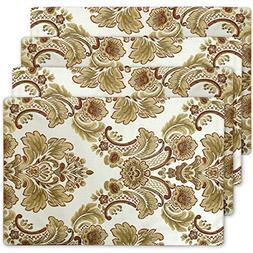 Modern Luxury Jacquard Fabric Floral Table Placemats Set of