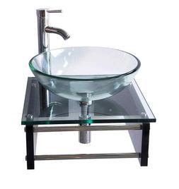 Modern Wall Mounted Glass sink Espresso Bathroom Vanity Fauc