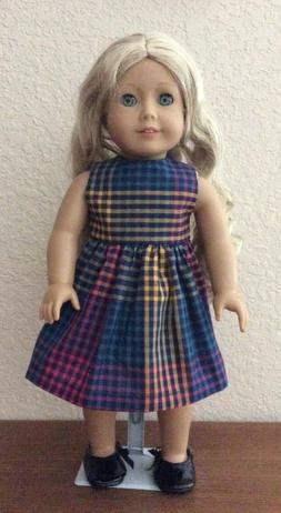 Multi Color Plaid Dress for 18 Inch American Girl Doll FREE
