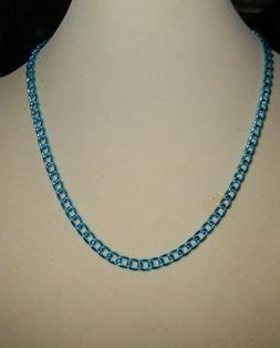 Necklace, 18 inch Teal Blue Color Aluminum Anodized Chain, T
