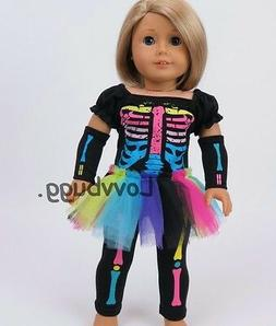 Neon Skeleton Costume Set for 18 inch Doll Clothes American