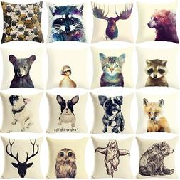 New 2016 Fashion Cute Wild Animal Linen Pillow Cover <font><