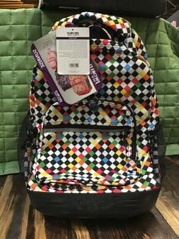 J World New York Sunrise 18-inch Rolling Backpack - Checkers
