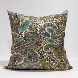 Paisley Pillow Cover, Chocolate Brown,Ivory,kiwi Pillow Case