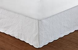 Greenland Home Fashions Paisley Quilted White Bedskirt