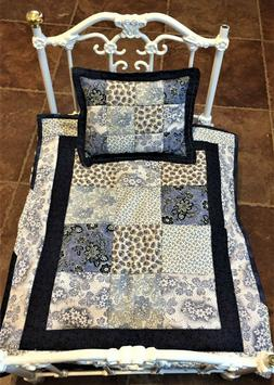 Patchwork Doll Quilt; Blue Floral  Pillow included-reversibl
