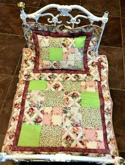 Patchwork Doll Quilt; Pink & Green-  pillow included