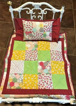 Patchwork Doll Quilt;  Pillow included-Also Reversible