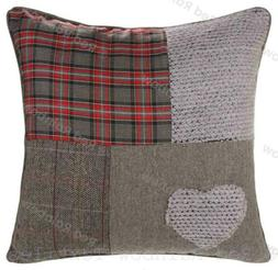 Patchwork Tartan Heart 18 inch / 45 cm Red & Grey Cushion Co
