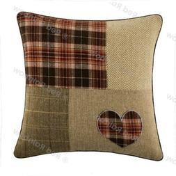 Patchwork Tartan Heart 18 inch Brown, Latte & Orange Cushion