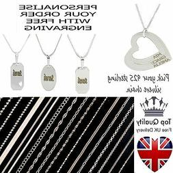 PERSONALISED ENGRAVED NAME PENDANT 925 STERLING SILVER NECKL