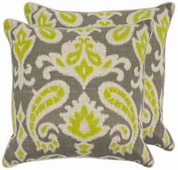 Safavieh Pillow Collection 18-Inch Paisley Pillow, Grey and