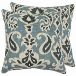 Safavieh Pillow Collection 18-Inch Paisley Pillow, Blue, Set