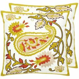 Safavieh Pillow Collection Sunny Paisley 18-Inch White and Y