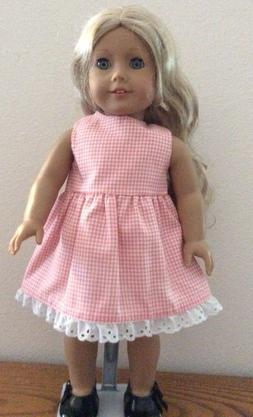 Pink Checkered Dress With Eyelet for 18 Inch American Girl D