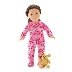 18 Inch Doll Pink Footed Heart Valentine Pajamas PJs with Te