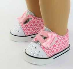 """Pink Hearts Sneakers Shoes for American Girl 18"""" Doll Clothe"""