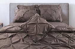 7 Piece Pintuck Bedding Set Queen - Brushed Microfiber - Ele