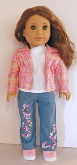 Plaid Blazer/Top/Embroidered Jeans 3pc Set  Fits 18 inch Ame