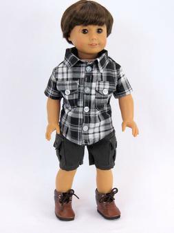 "Plaid Shirt & Gray Cargo Shorts For 18""  American Girl Boy L"