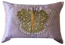Purple Butterfly Theme 12x18 inch Silk Lumbar Pillow Cover-E