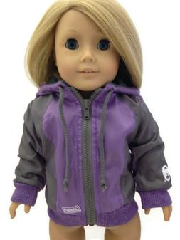 Purple Coleman Nylon Hooded Jacket made for 18 inch American